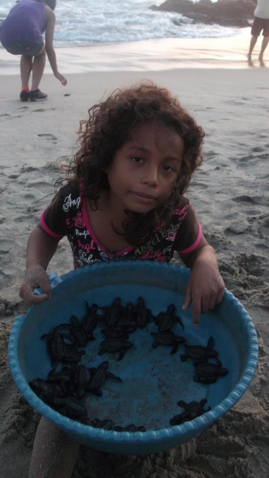 Campamento Tortuguero Los Quelonios. Playa Ventura, Copala. Guerrero, México - Brisa, nieta del Sr. Angel apoyando el campamento tortuguero con la liberación de crías de tortugas. LosQuelonios.org